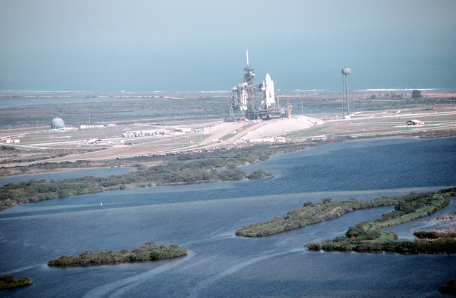 A view of the Space Shuttle Columbia (STS-2) on its launch pad