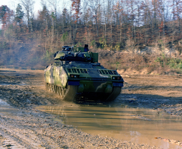 An M-2 Bradley infantry fighting vehicle, operated by the 3rd Plt., E Trp., 2nd Bn., 6th Cavalry, participates in maneuvers at the U.S. Army Armor Center