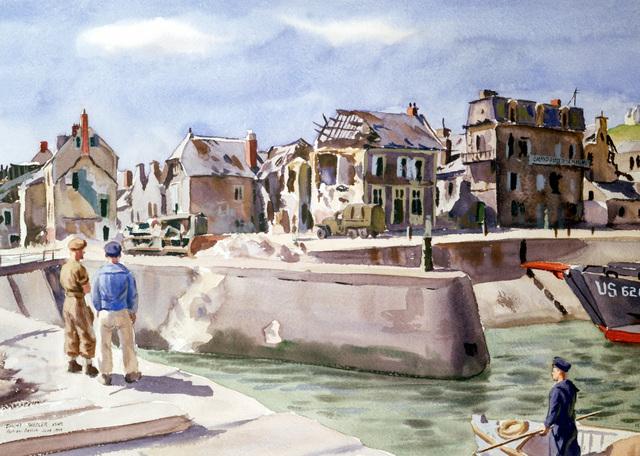 "Artwork: ""Port En Bessin, Normandy"" Artist: Dwight C. Shepler #152"