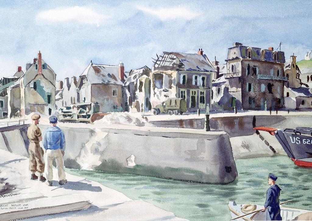 """Artwork: """"Port En Bessin, Normandy"""" Artist: Dwight Shepler #152"""