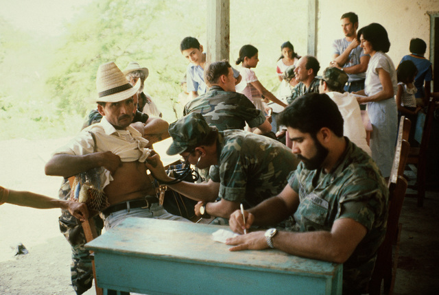 CHIEF Hospital Corpsman Ray Miranda writes a prescription while Dr. Robert Frenk examines a local villager. They are part of a combined US/Honduran civic action team that is providing medical and dental treatment to eight communities in northeastern Honduras