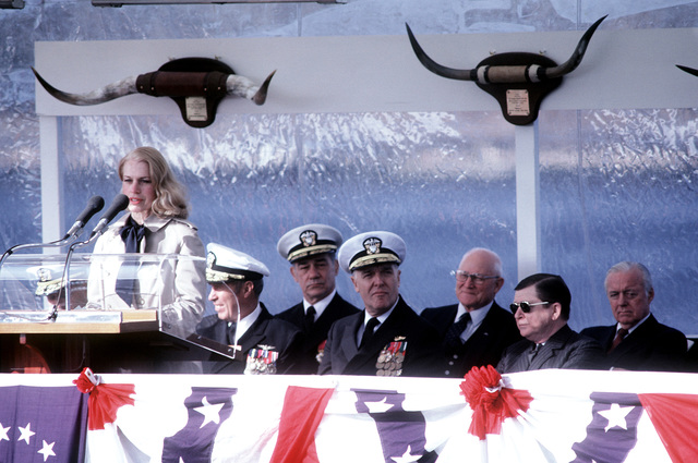 Mrs. Tower, wife of Sen. John Tower, R-Texas, speaks during commissioning ceremonies for the nuclear-powered attack submarine USS CITY OF CORPUS CHRISTI (SSN-705). The ship was built by the Electric Boat Division of General Dynamics Corporation