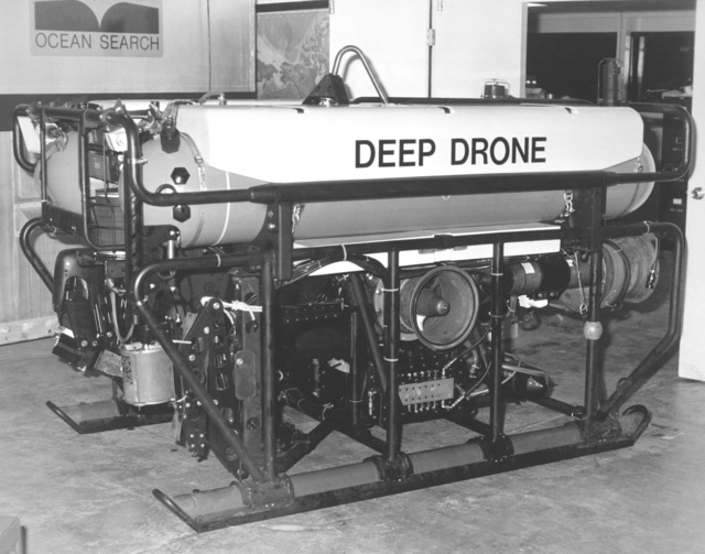A view of the Deep Drone, owned and operated by the Supervisor of Salvage, Naval Sea Systems Command. This vehicle, used for small area search, inspection and deep ocean salvage, was recently used during salvage operations for the downed Korean airliner