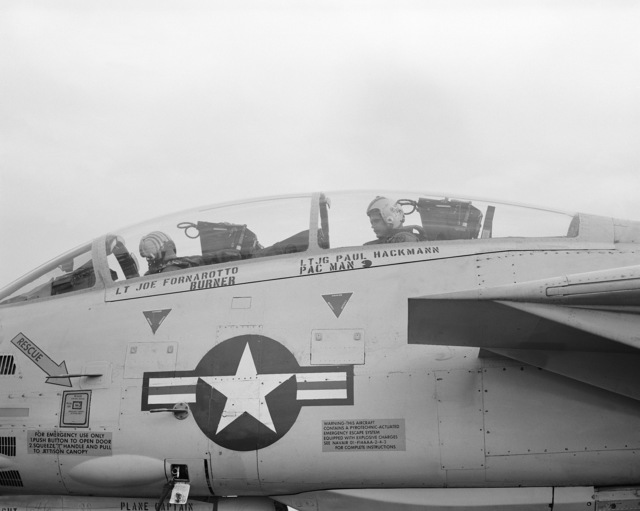 Left side view of the cockpit of an F-14 Tomcat aircraft from Fighter Squadron 213 (VF-213), after an arrested landing aboard the nuclear-powered aircraft carrier USS ENTERPRISE (CVN 65). This marks the 200,000th landing of an aircraft aboard the ENTERPRISE