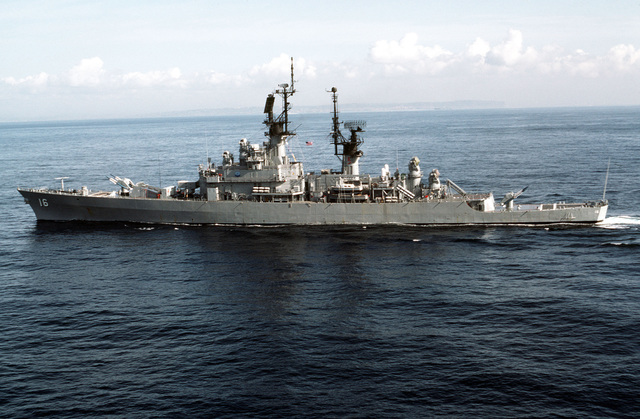 Aerial port beam view of the guided missile cruiser USS LEAHY (CG 16) underway