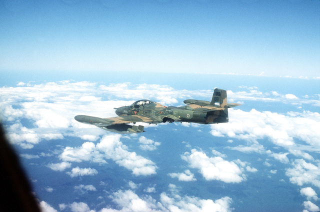 "An air-to-air left rear view of a Honduran Air Force A-37 Dragonfly aircraft during the combined U.S./Honduran training operation ""Ahuas Tara"" (Big Pine)"