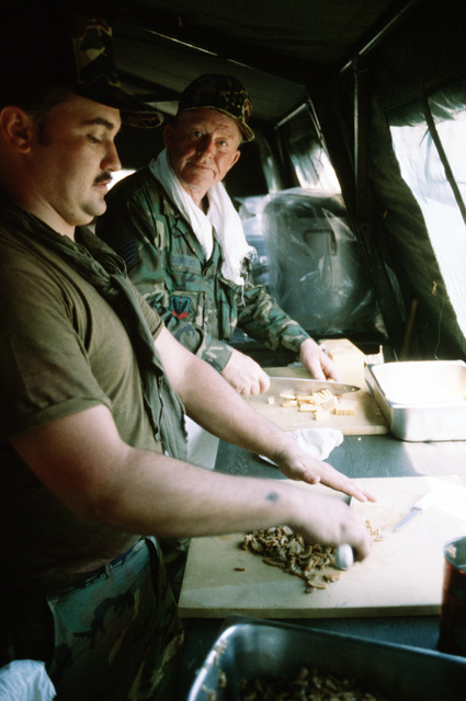 "STAFF Sergeant Aron Wolak, left, and Technical Sergeant Ray E. Dawkins prepare meals in the tent city kitchen during the combined United States/Honduran training operation ""AHUAS TARA"" (BIG PINE)"