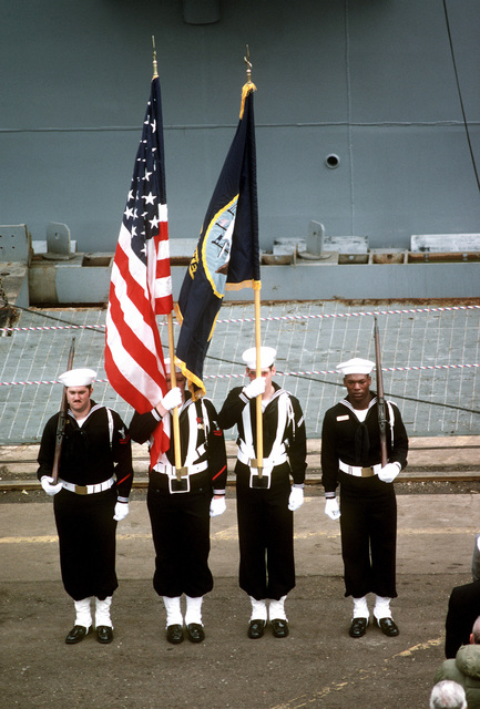 A view of the color guard during commissioning ceremonies for the first Aegis guided missile cruiser USS TICONDEROGA (CG-47), at Ingalls Shipbuilding
