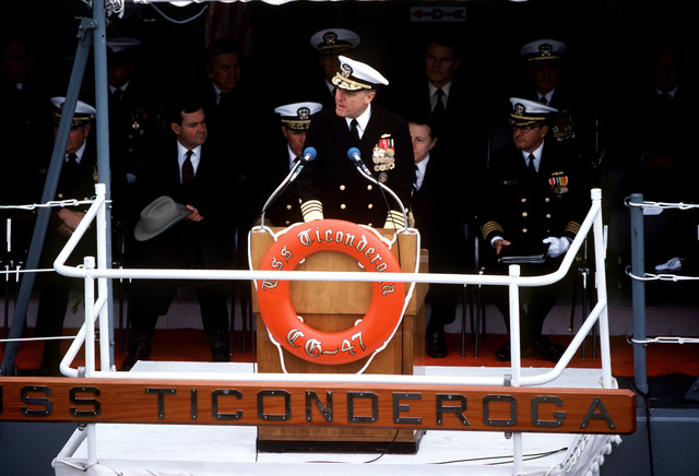 ADM James D. Watkins, chief of naval operations, speaks during commissioning ceremonies for the first Aegis guided missile cruiser USS TICONDEROGA (CG-47) at Ingalls Shipbuilding