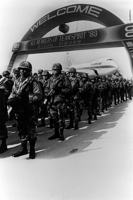 A composite view of U.S. Army troops arriving to participate in exercise Team Spirit '83