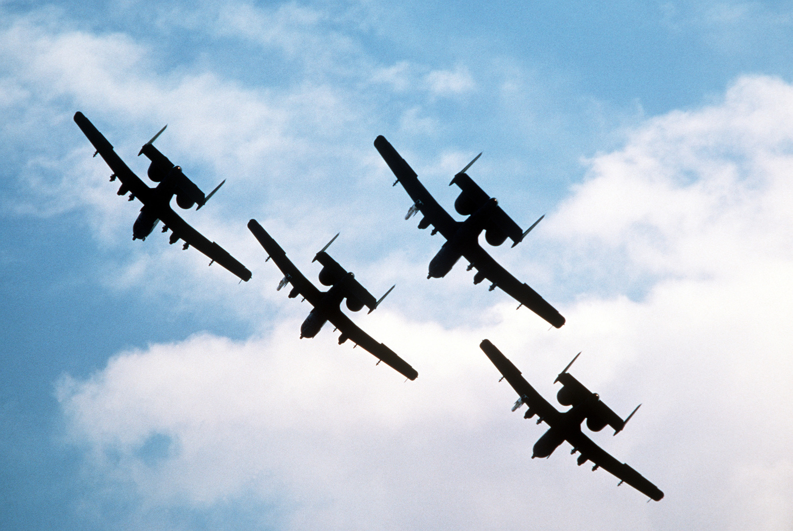 Four Air Force Reserve A-10 Thunderbolt II aircraft from the