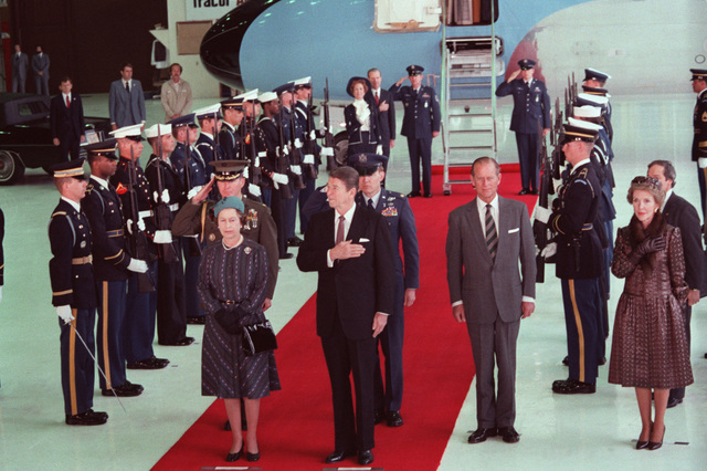 Queen Elizabeth II and Prince Philip of Great Britain stand with President and Mrs. Ronald Reagan during a ceremony to honor the queen's visit to the West Coast