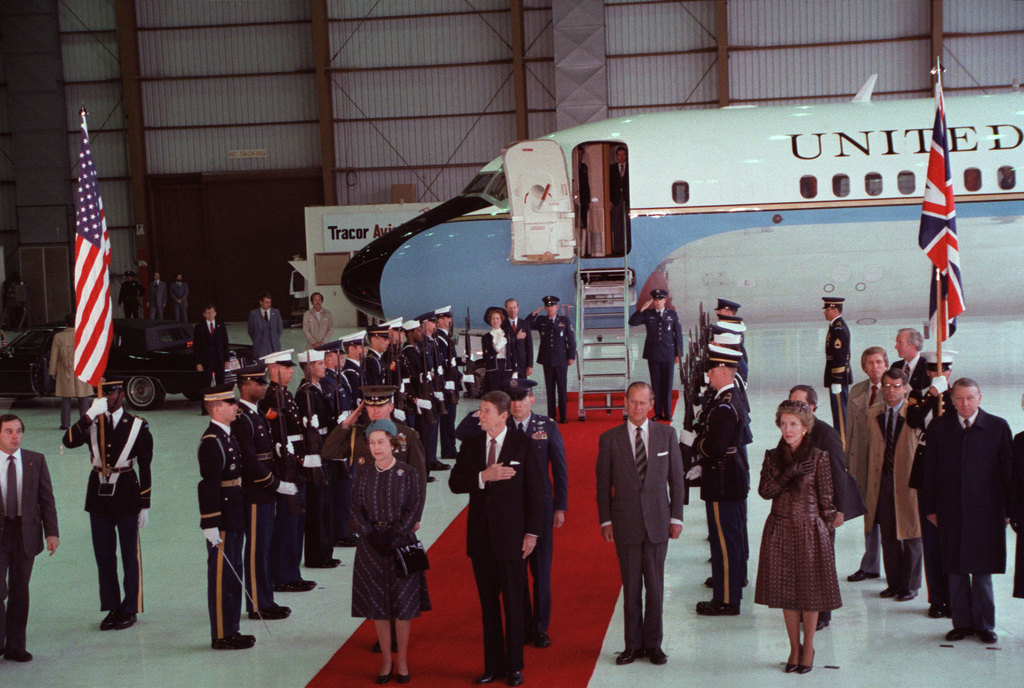 Queen Elizabeth II and Prince Philip stand with President and Mrs. Ronald Reagan, during a ceremony to honor the queen's visit to the West Coast
