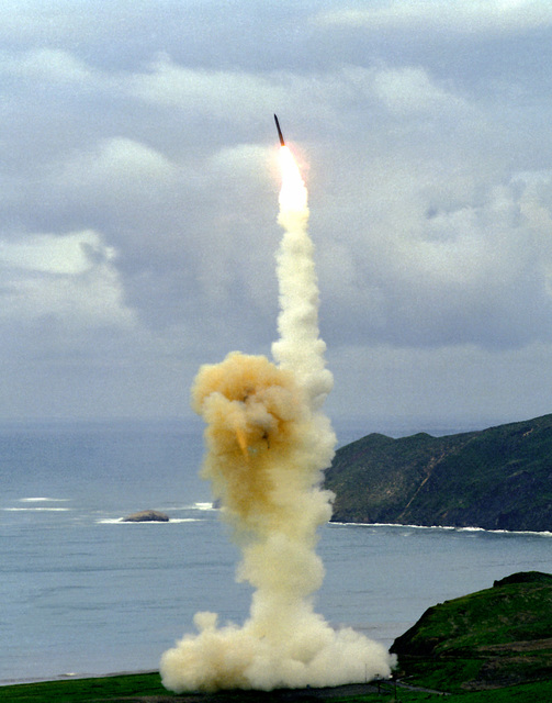 A Minuteman III missile takes off from Launch Facility 26