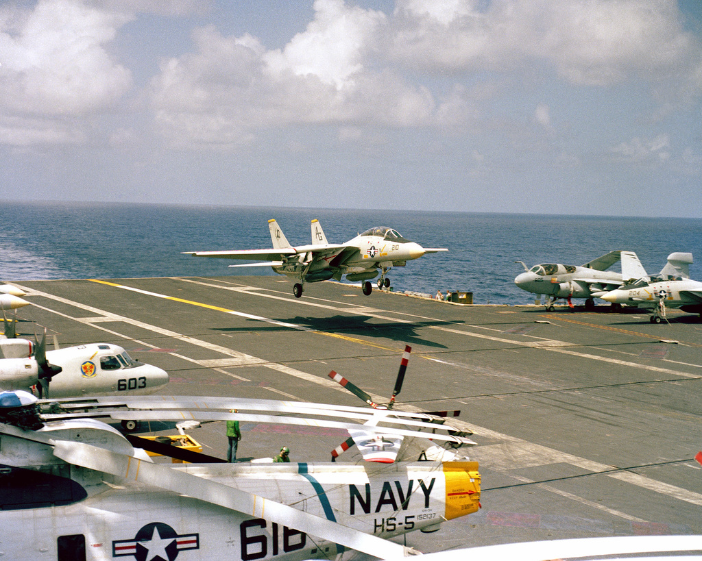 A Fighter Squadron 142 (VF-142) F-14A Tomcat aircraft prepares to land aboard the nuclear-powered aircraft carrier USS DWIGHT D. EISENHOWER (CVN 69)