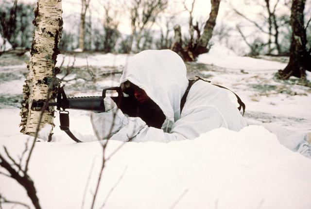 A member of Co. A, 1ST Bn., 2nd Marine Div., demonstrates the correct use of camouflage in Arctic terrain during Exercise Cold Winter '83