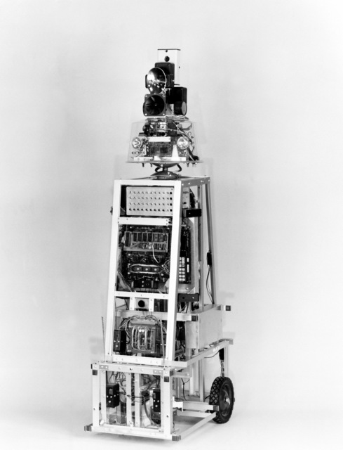 A view of ROBART I, an autonomous sentry robot developed by Lieutenant Commander Bart Everett, at the Naval Surface Weapons Center