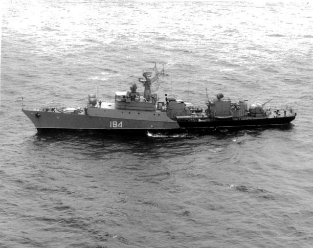 Aerial port beam view of a Soviet Grisha class frigate underway