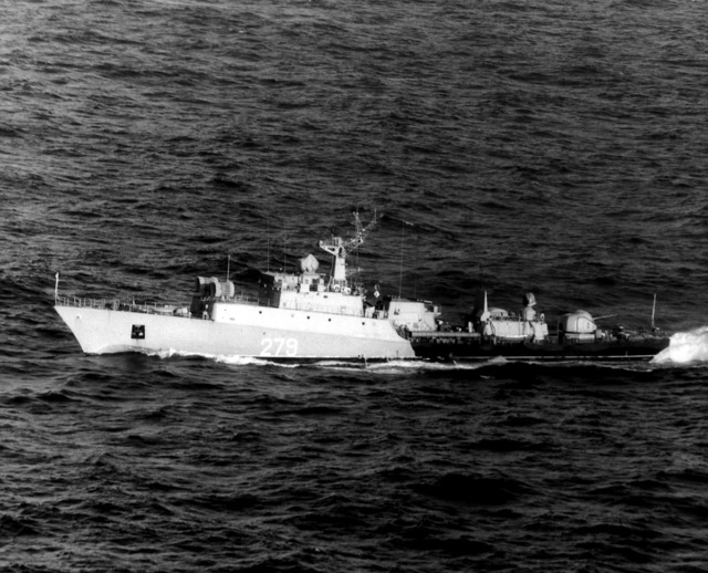 Aerial port beam view of a Soviet Grisha I class frigate underway
