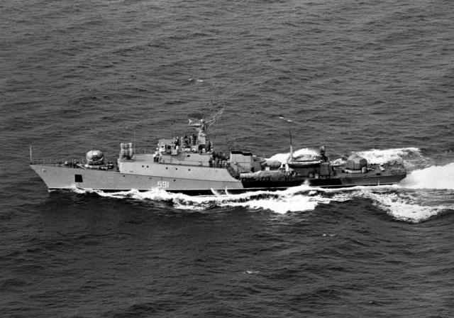 Aerial port beam view of a Soviet Grisha II class frigate underway