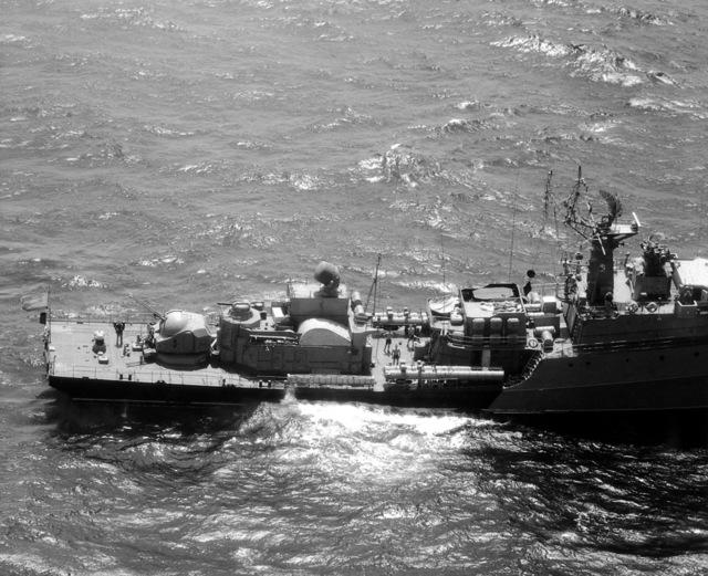 Aerial starboard aft view of a Soviet Grisha III class frigate underway