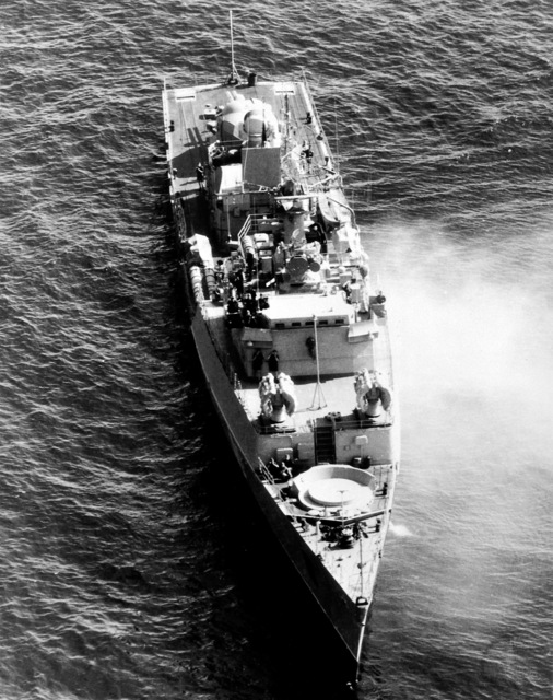 Aerial starboard bow view of a Soviet Grisha class frigate