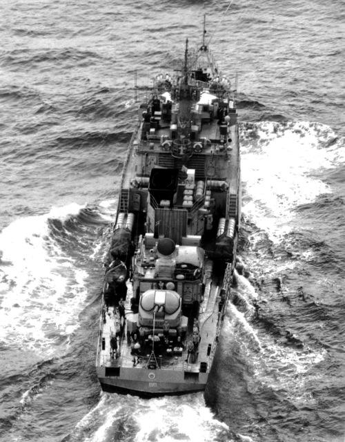 Aerial stern view of a Soviet Grisha class frigate underway