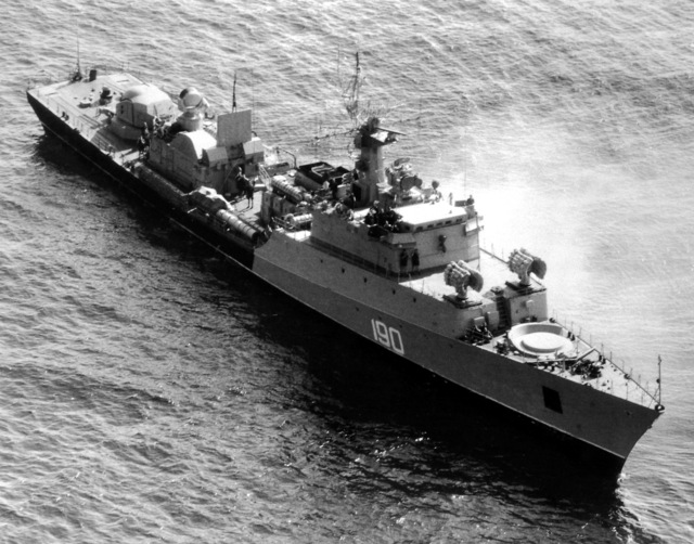 An aerial starboard bow view of a Soviet Grisha class frigate underway