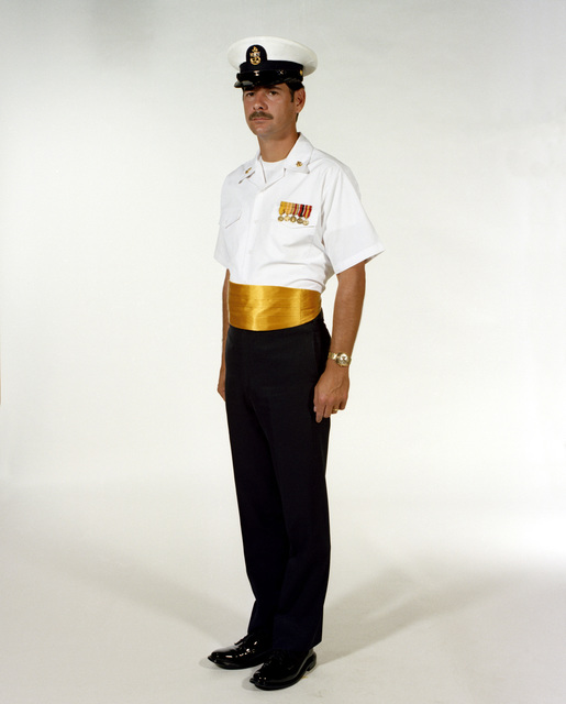 Uniform: Dinner dress white, male Navy chief petty officers