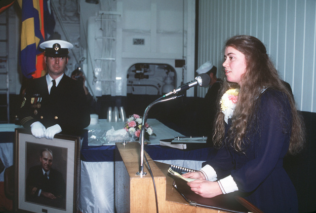 Nicole Hayler, sponsor and granddaughter of Admiral Robert Hayler, namesake of the ship, speaks at the reception following the commissioning of the Spruance class destroyer USS HAYLER (DD 997)