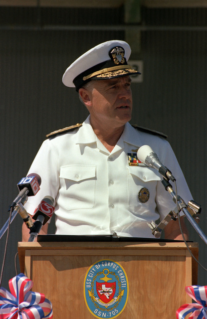 Admiral (ADM) James D. Watkins, chief of naval operations, speaks during the ceremonies welcoming the nuclear-powered attack submarine USS CITY OF CORPUS CHRISTI (SSN 705)  to its namesake city
