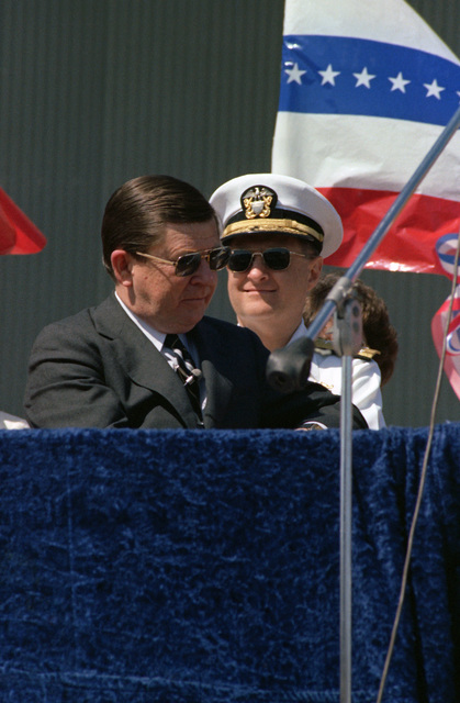 Senator John Tower, Republican-Texas, waits to speak during the ceremonies welcoming the nuclear-powered attack submarine USS CITY OF CORPUS CHRISTI (SSN 705)  to its namesake city