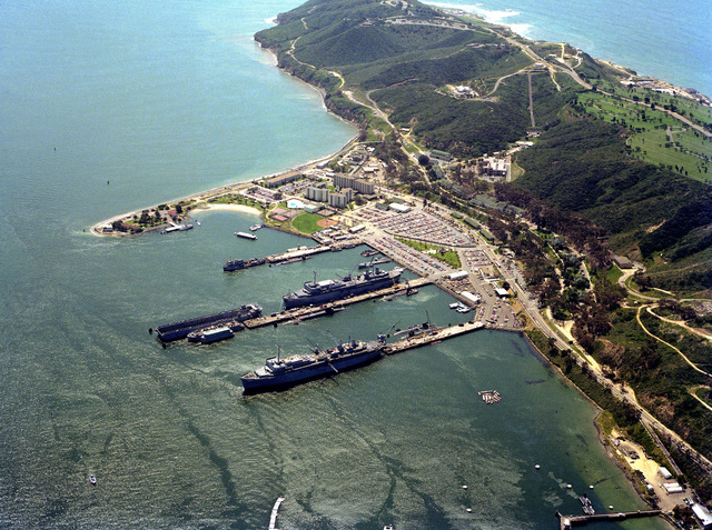An aerial view of the Submarine Support Facility, Ballast Point