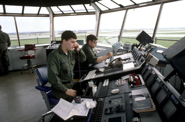 Air Force personnel at work in the control tower during Exercise CHECKERED FLAG (CORONET CASTLE)