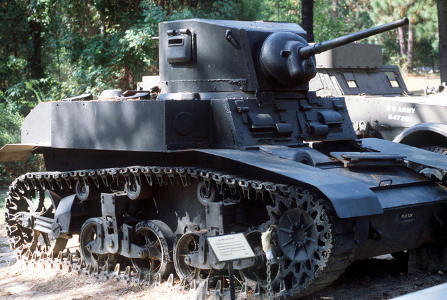 An M3 Stuart light tank on display at the Fort Polk Military Museum outdoor park