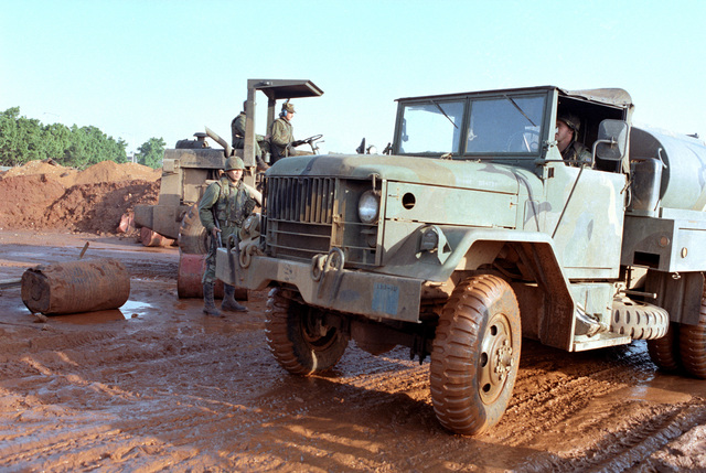 A 5-ton water tanker pulls up at a US Marine Corps encampment. The Marines have been deployed in Lebanon as part of a multi-national peacekeeping force following confrontation between Israeli forces and the Palestine Liberation Organization