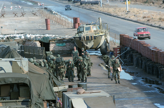A LARC 15 amphibious cargo carrier enters a US Marine encampment. The Marines have been deployed in Lebanon as part of a multi-national peacekeeping force following confrontation between Israeli forces and the Palestine Liberation Organization