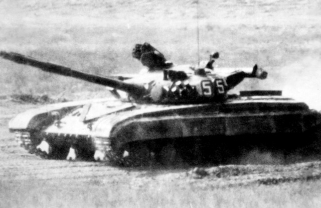 "A side view of a Soviet T-64A main battle tank. ""Soviet Military Power,"" 1983, Page 38"
