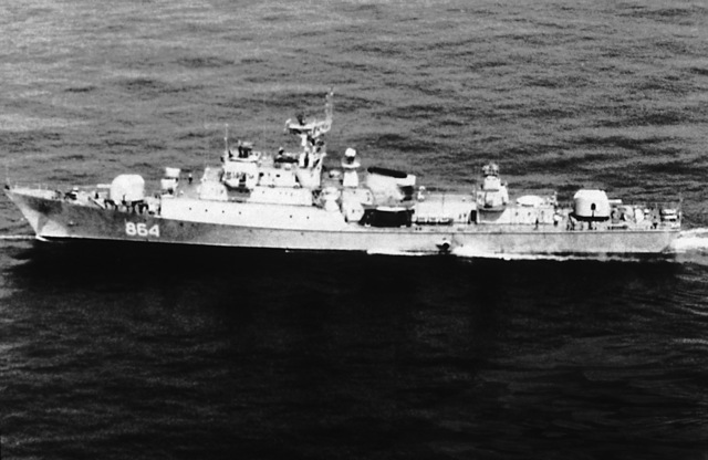 "Aerial port beam view of a Soviet Koni-class frigate underway. ""Soviet Military Power,"" 1983, Page 89"