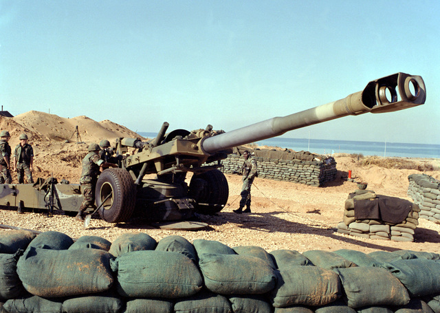 An M-198 155mm howitzer protects a U.S. Marine Corps encampment near Beirut. The Marines have been deployed in Lebanon as part of a multi-national peacekeeping force following confrontation between Israeli forces and the Palestine Liberation Organization
