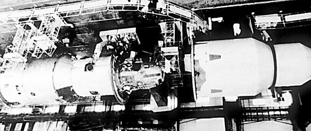 """Final testing of the Soviet Salyut-7 space station before launch. """"Soviet Military Power,"""" 1983, Page 69"""