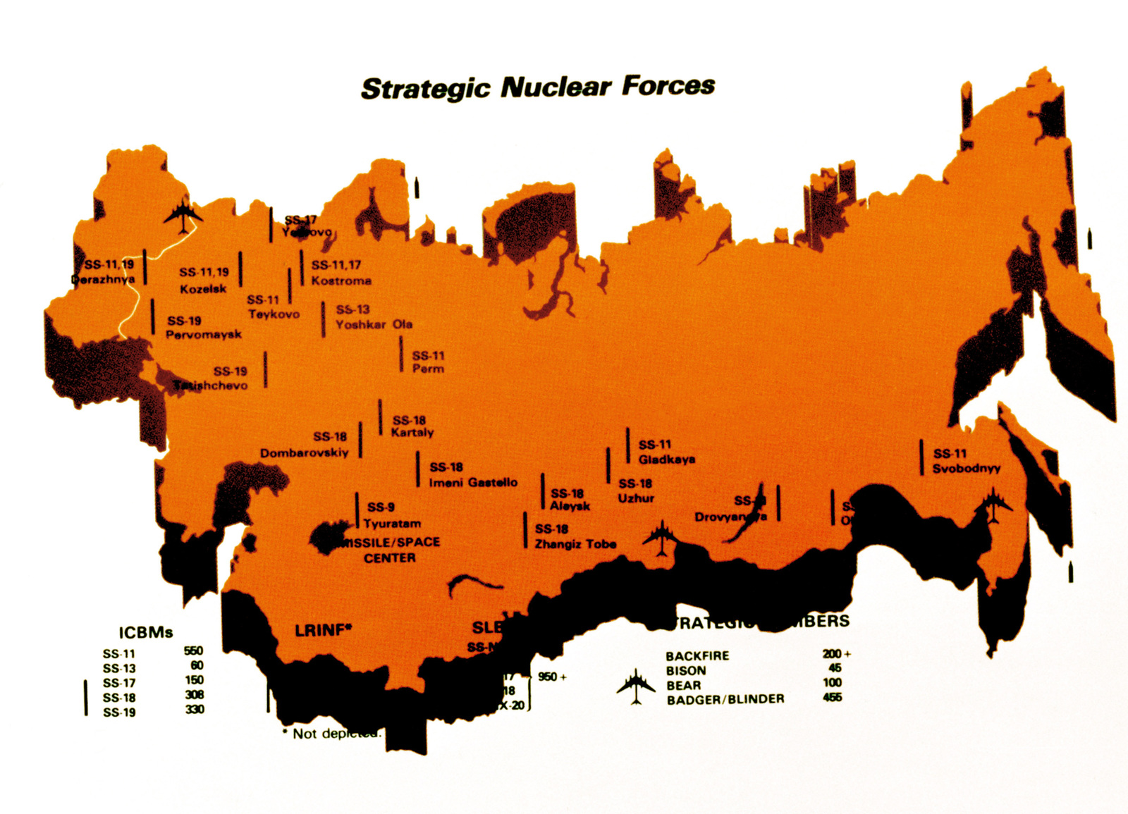 Outline of the Soviet Union showing strategic nuclear forces