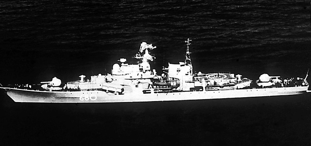 """Port beam view of the Soviet guided missile destroyer Sovremenny. """"Soviet Military Power,"""" 1983, Page 59"""