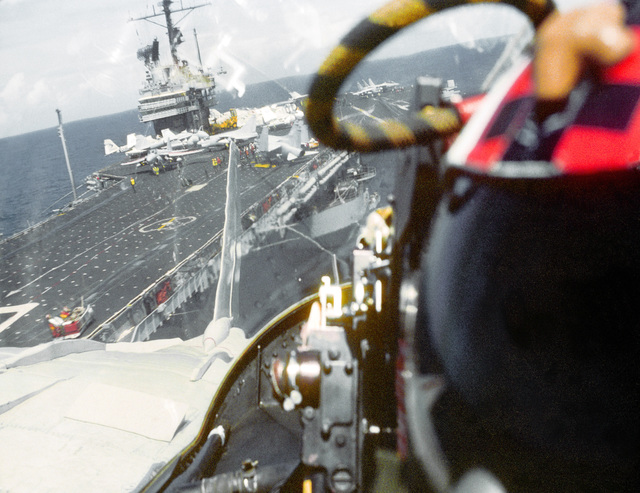 The photographer looks back at the flight deck of the aircraft carrier USS RANGER (CV-61) following the launch of his F-14A Tomcat aircraft.Exact Date Shot Unknown