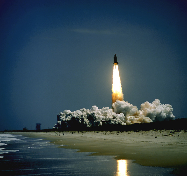 The space shuttle Challenger lifts off from the Complex 39A launch pad