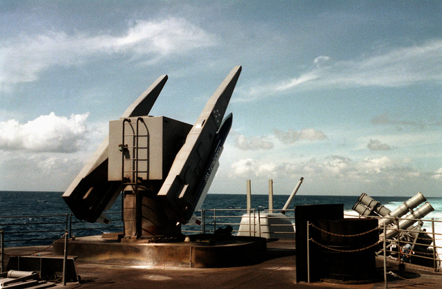 RIM-66 Standard MR/SM-2 missiles on a Mk-26 launcher, prior to being fired from the Aegis guided missile cruiser USS TICONDEROGA (CG 47) during tests near the Atlantic Fleet Weapons Training Facility, Roosevelt Roads, Puerto Rico