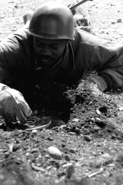SPECIALIST Fourth Class Arthur Roberts of Company D, 864th Engineering Battalion, uncovers a mine for removal from a minefield during an Army Training and Evaluation Program (ARTEP) exercise