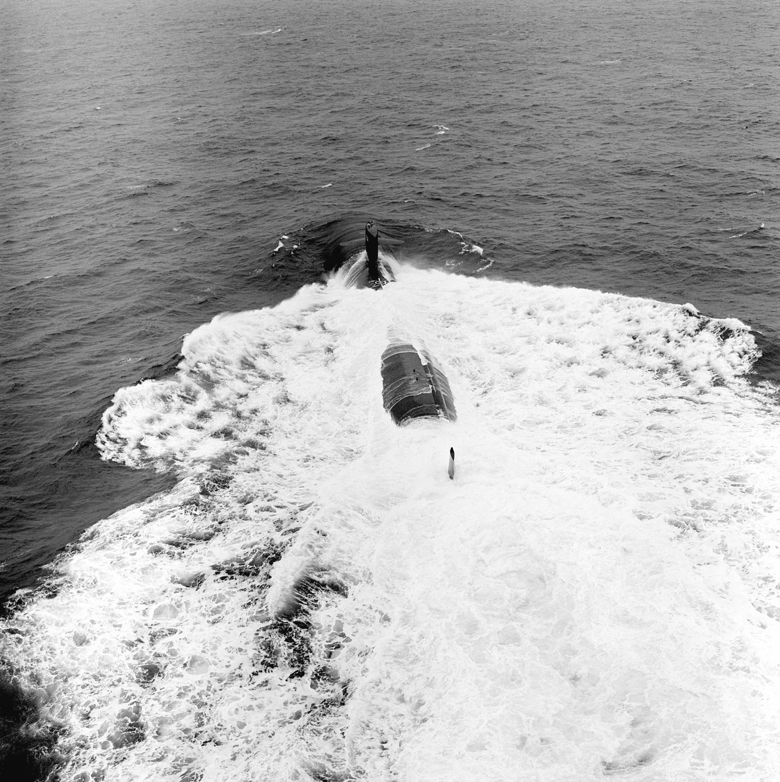 A port quarter view of the nuclear attack submarine USS NORFOLK (SSN-714) undergoing sea trials