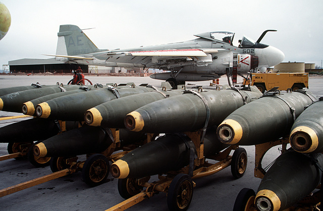A view of bombs on the flight line prior to loading operations with A-6E Intruder aircraft from Carrier Air Wing Six (CVW-6)