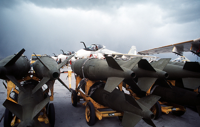 A view of bombs on the flight line prior to loading operations with A-6E Intruder aircraft from Carrier Air Wing 6 (CVW-6)